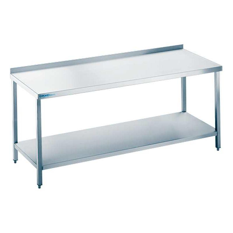 edelstahl arbeitstisch mit boden 70cm tief 85 90cm hoch. Black Bedroom Furniture Sets. Home Design Ideas